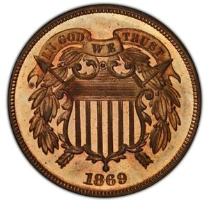 1869 2C PR65+ Red and Brown PCGS. CAC