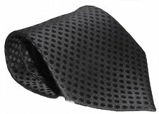 100% Silk Tie / Men's Necktie -  Plain Black With Black Polka Dot Grid Pattern