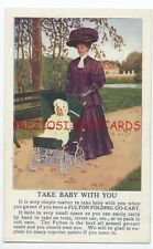 FULTON FOLDING GO-CART BABY STROLLER ca1908 Ad Postcard FANCY LADY Pushing Baby