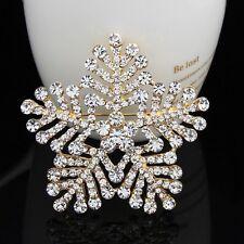 Huge 18K Gold Plated Clear Rhinestone Cute Snowflake Flower Women Lady Brooch