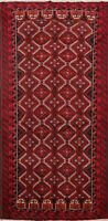 Tribal Geometric Balouch Afghan Runner Rug Hand-knotted Hallway Carpet 3x7 ft