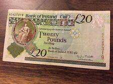 Banco de Irlanda £ 20 veinte libras billetes Belfast AC427319.