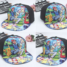 Pokemon Pikachu Baseball Hat Boys Girls Kids Summer Sun Snapback Hip-hop Cap UK