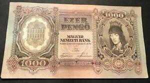 1943 HUNGARY 1000 EZER PENGO Banknote Money for Collector/Investor P116 AU/UNC.