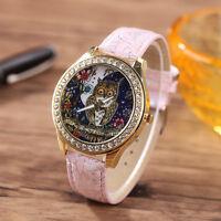 MODA MUJER CUARZO ACERO INOXIDABLE Cuero Cristal Diamantes búho reloj de pulsera