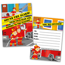 20 Kids Party Invitation Cards Fireman Themed And Envelopes