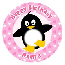 ND3 Penguin pink personalised round cake topper icing