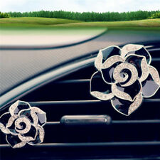 2x Car Perfume Colorful Flowers Bling Diamond Car Air Freshener Clip Decor AU.