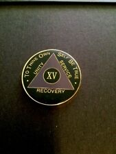 15 Year Black And Purple  AA Recovery Medallion / AA Coin