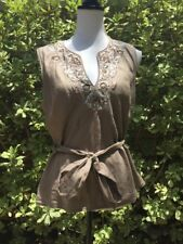 Lafayette 148 Women's Sz 14 Linen embroidered taupe brown v-neck blouse