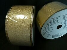 Two Rolls of Holiday Time Gold Ribbon with Wired Edges