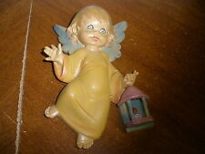"vintage plastic made in  Italy cheub angel holding lamp 7"" tall wall hanging"