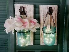 Pair of Rustic Authentic Barn Wood Mason Jar Sconces