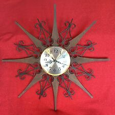 Vintage Large Electric Atomic Starburst Wall Clock Mid Century Modern Sunburst