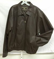 MEMBERS ONLY Brn Leather Cafe Racer Motorcycle Bomber Jacket Insulated Coat Sz L