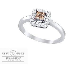 Brandy Diamond® Chocolate Brown 10K White Gold Princess Halo Design Ring .27Ct