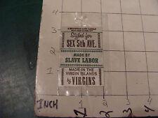 vintage set of uncut JOKE humorous CLOTHES LABELS 3 in all SLAVE LABOR, VIRGINS