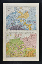 1887 Andrees Map - Germany & C. Europe - Climate Rain Temperature Weather Maps