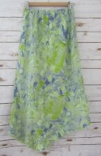 NEW HABITAT Clothes To Live In Womens M Green Floral 100% Linen Asymmetric Skirt