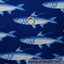 BonEful Fabric FQ Cotton Quilt Blue Navy Sword FISH L Scale Beach House Nautical