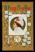 1911 gold emb. year date Calendar glamour girl New Year postcard