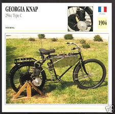 1904 Georgia Knap 250cc Type C France Motorcycle Photo Spec Sheet Info Card