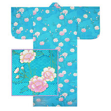 "Japanese Kimono Yukata Robe 58""L Sakura W/ Shibori Pattern Turqoise/ Made Japan"