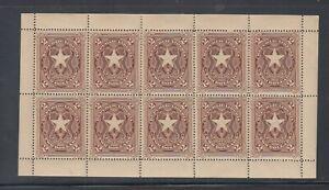 Liberia # 48 MNH Sheet 1892 $2 Liberian Star  Waterlow CV $90 Hinged Singles