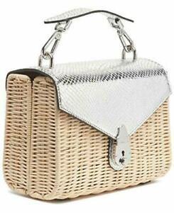Calvin Klein Lock Leather Flap Wicker Purse Top Handle Bag Crossbody B4HP $228