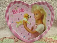 Barbie with Puppy Heart Shaped Plastic Pink Plate 1996 Mattel New with Sticker