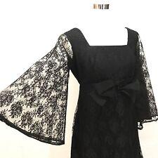 VTG 60's Black lace batwing sleeve bow tie empire waist prom wedding dress gogo