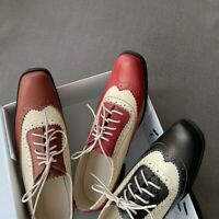 New Women's Square Toe Lace up Flat Brogue Carved Wingtip Pumps Shoes Oxfords