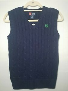 NWT Chaps Youth Size Medium 10-12 Blue Sweater Vest Green Logo