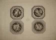 Stampa antica quattro stagioni four seasons ackermann engraving radierung 1799