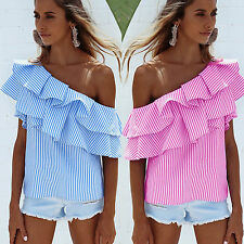 Womens Off Shoulder Stripe Shirts Loose Casual Blouse Tops T-Shirt Blue L LZF08