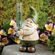 Gnome Rain Gauge Statue Sculpture Figure - Outdoor Yard Garden Decor