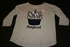 New Justice Girls Top 18 20 year Unicorn Cupcake Magical Flip Sequin Tee