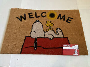 Peanuts Snoopy Doghouse Mat Coir Fiber 18×28 Outdoor Woodstock Colorful NWT