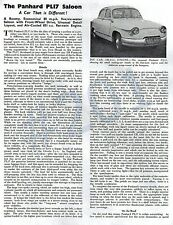 PANHARD PL17 SALOON Article - RARE Original 1960 2 page Article