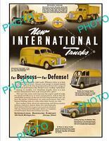 OLD LARGE HISTORIC ADVERTISING POSTER, INTERNATIONAL COMMERCIAL TRUCKS c1940s