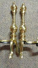 Beautiful Shiny Brass Fireplace Set of 2 Andirons Accessories