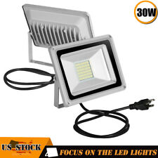 2 x 30W LED Flood Light Garden Path Outdoor Wash Lamp w/ US Plug 110V Cool White