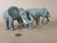 """CE CHINA Fine Detailed 6"""" Long PVC Lot of 2 Elephants, Heavy Weight Figures!"""