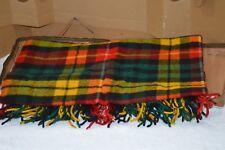 Vtg Faribo Wool Throw Blanket Plaid Multi Fall Color Stadium 60 x 52 carry bag