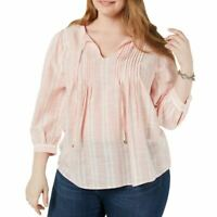 TOMMY HILFIGER NEW Women's Plus Size Gauze Pintuck Blouse Shirt Top 2X TEDO