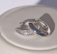 Echt 925 Sterling Silber Ohrringe Creolen Zirkonia Hochzeit Nr 223