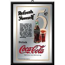 Coca Cola for 5 Cent Nostalgie Barspiegel Spiegel Bar Mirror 22 x 32 cm