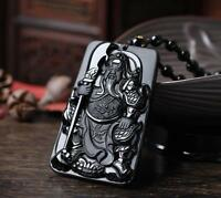 Obsidian guan yu pendant necklace energy Sweater Carved Jewelry Beautiful Unisex