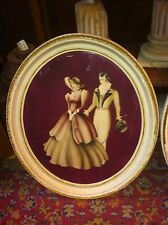 Vtg Chic Mid-Century Oval Frame Air Brush Print Southern bell Gentleman couple