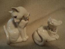 Lenox Sweet Devotion Cat Figurines W/Swarovski Crystal Jeweled Collars